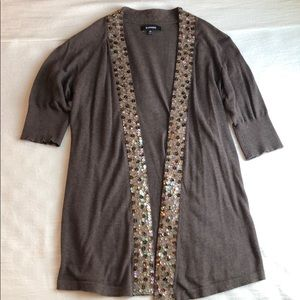 Express brown beaded cardigan XS